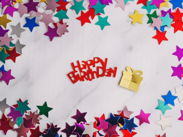 Happy birthday and small paper gift