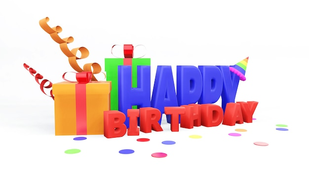 Happy birthday text and colorful gifts 3d render