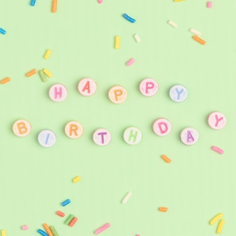 Happy birthday text with letter beads