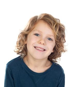 Счастливый белокурый ребенок изолирован