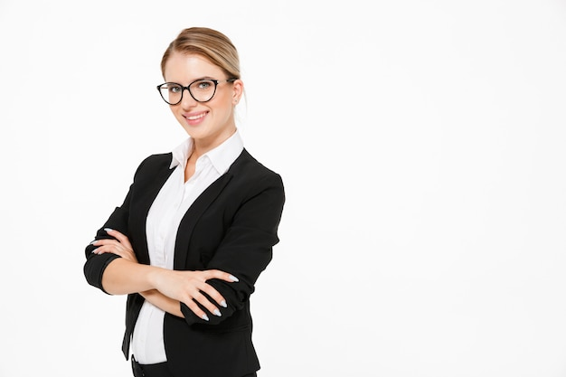 Happy blonde business woman in eyeglasses