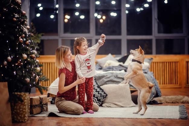 Счастливая светловолосая мать держит свою серьезную дочь в пижаме, сидящую на ковре на полу возле серой кровати, глядя на елку с огнями и подарками перед большими ночными окнами