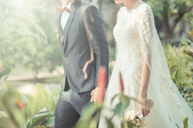 Happy bride and groom on their wedding. vintage tone color