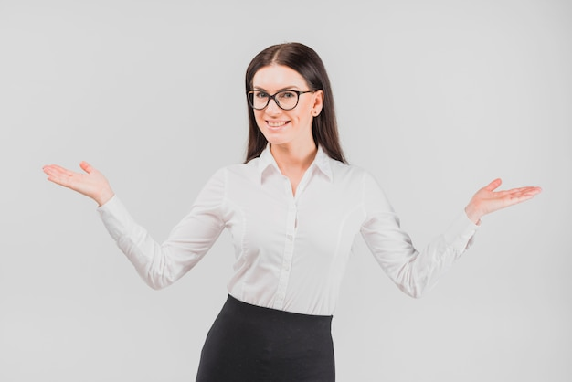 Happy business woman in glasses