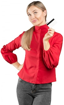 Happy business woman hold credit card,