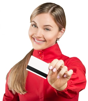 Happy business woman hold credit card.