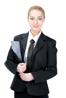 Happy business woman isolated on white.