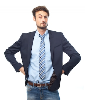 Happy businessman stress occupation boss