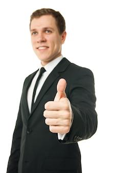 Счастливый бизнесмен с большими пальцами руки вверх жест, изолированные на белом
