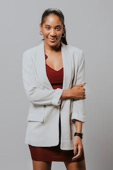 Happy businesswoman in a blazer