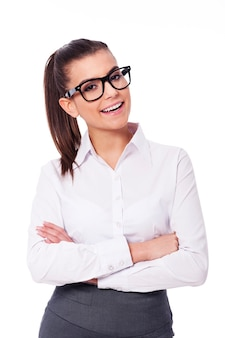 Happy businesswoman in glasses