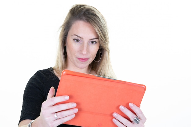 Happy businesswoman using tablet over white background business working girl