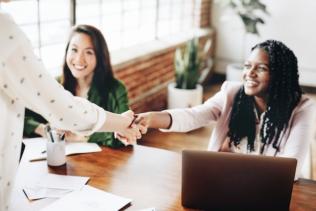 Happy businesswomen doing a handshake
