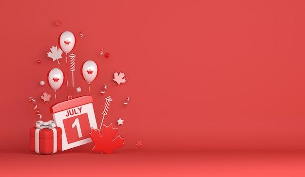 ハッピーカナダ日7月1日バルーン花火カエデの葉ギフトボックスと装飾の背景