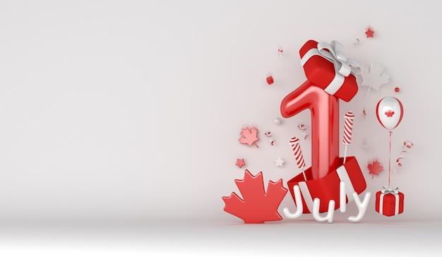 バルーン花火カエデの葉ギフトボックスと幸せなカナダの日の装飾の背景