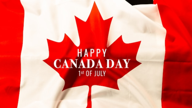 Happy canada day with canada flag background