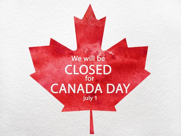 Happy canadian day. drawing of the canadian flag. national holiday concept. closeup, top view, texture. congratulations for family, relatives, friends and colleagues