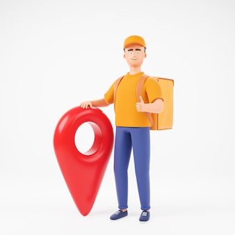黄色のtシャツと赤いマップポインターで白い背景の上に親指を示す食品バックパックのキャップで幸せな漫画のキャラクターの男の宅配便。 3dレンダリングのイラスト。