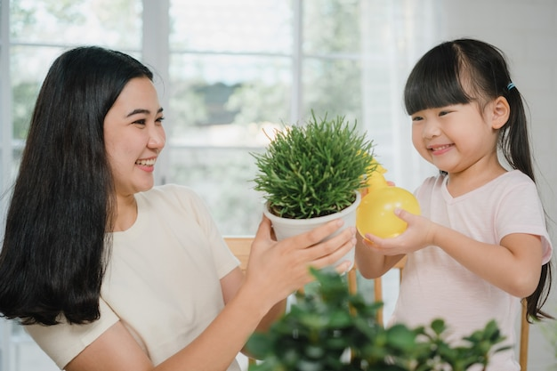 Happy cheerful asian family mom and daughter watering plant in gardening near window at house.