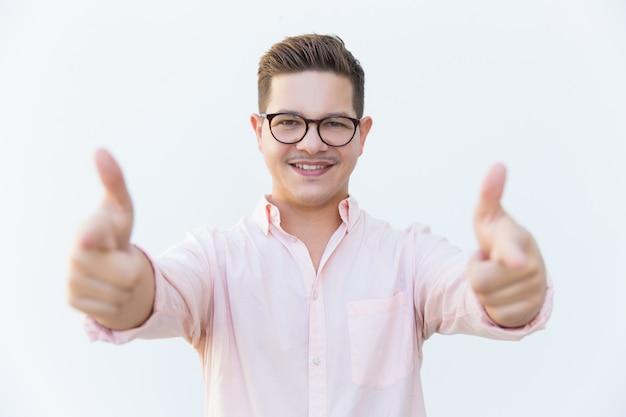 Happy cheerful professional choosing you