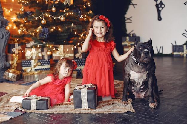 幸せな子供とクリスマスプレゼントの犬。赤いドレスを着た子供。家で犬と楽しんでいる赤ちゃん。クリスマスの休日の概念