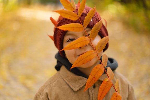 幸せな子の男の子が笑って、秋の日に遊んでいる子供は葉で彼女の顔を覆います