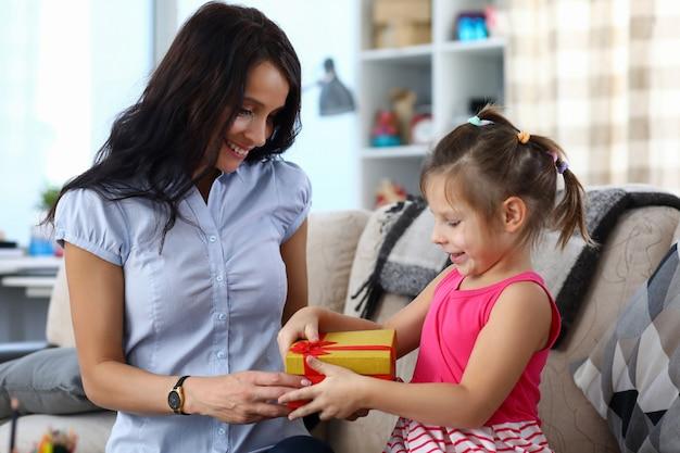Happy child opening gift