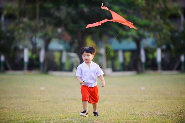 Happy child with a kite running at the park in summer