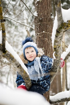 Happy childhood - little cheerful boy climbing a tree in a snowy forest in winter