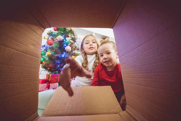 The happy children open the box near the christmas tree