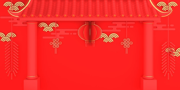 Happy chinese new year decoration with gate lantern firecracker