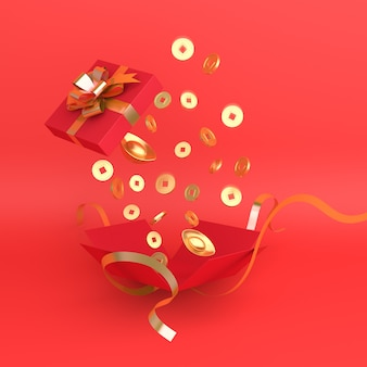 Happy chinese new year decoration with gift box and gold coin