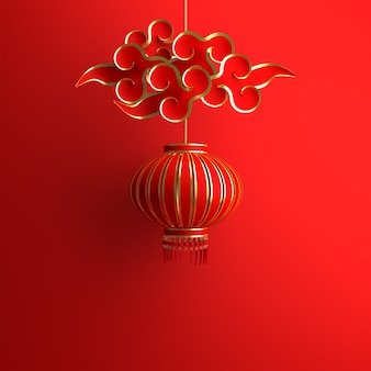 Happy chinese new year decoration with lantern and cloud paper cut