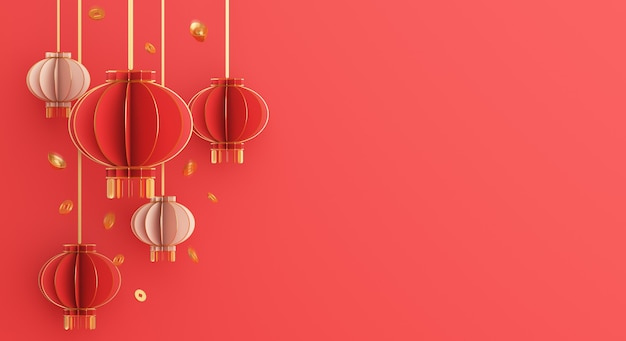 Happy chinese new year decoration with lantern and gold coin