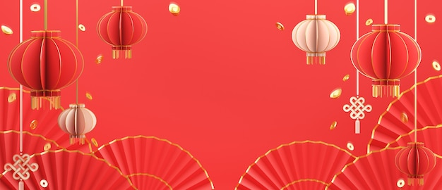 Happy chinese new year decoration with lantern gold coins umbrella hand fan