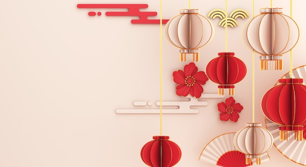 Happy chinese new year decoration with lantern umbrella hand fan flower