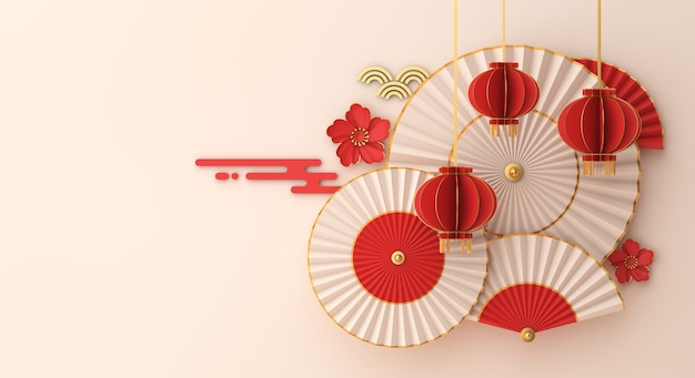 Happy chinese new year decoration with lantern umbrella hand fan