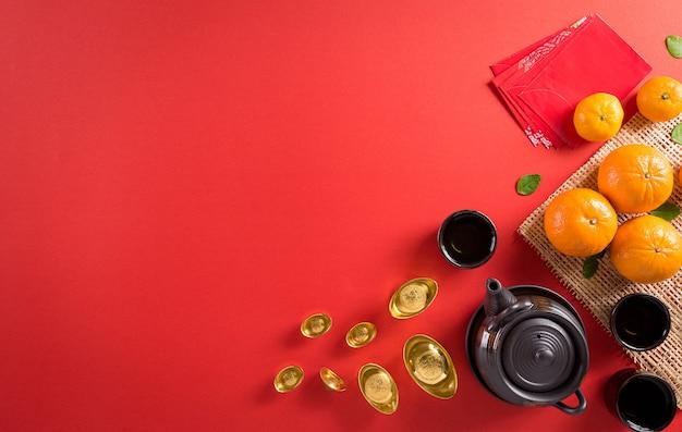Счастливого китайского нового года или украшения фестиваля лунного нового года на красном фоне