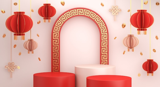 Happy chinese new year podium display with lantern