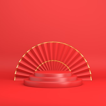 Happy chinese new year podium display with umbrella hand fan