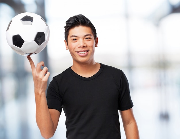 Happy chinese-sport-man with soccer-ball