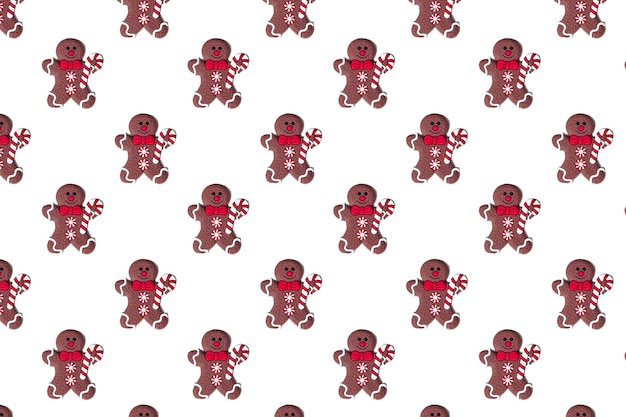 Happy chocolate christmas gingerbread man on white background pattern isolate. new year concept