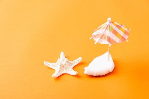 Концепция счастливого дня кокосов кусочки свежего кокоса и зонтик от солнца