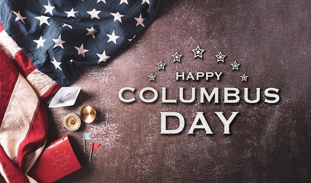 해피 콜럼버스 데이 개념 빈티지 미국 국기 나침반 텍스트와 종이 보트 로프