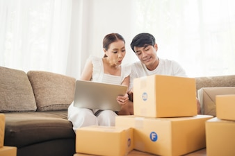 Happy couple at Home office with Online business, Marketing online and freelance job