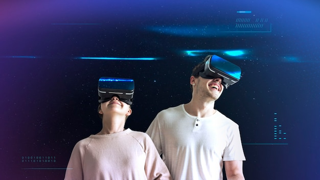 Happy couple enjoying the vr headset