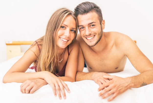 Happy couple in the morning portrait