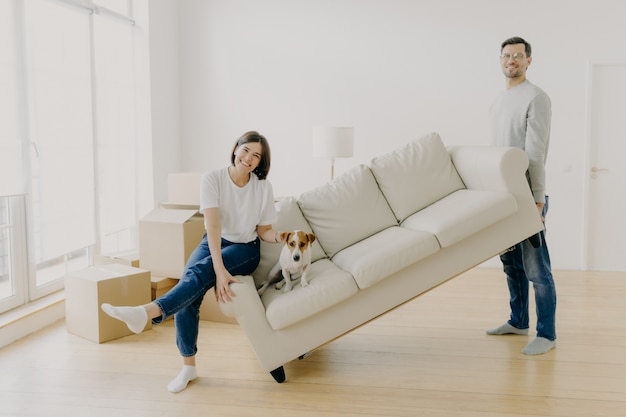 Happy couple move furniture in their new modern home, carry sofa with pet, pose in spacious room