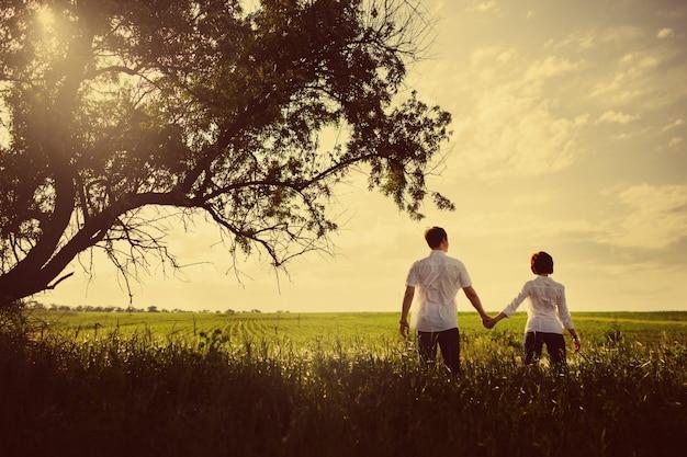 幸せなカップルの屋外、夏、色付きの写真