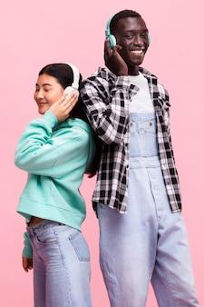 Happy couple posing in studio